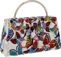 Luxury Accessories:Bags, Judith Leiber Full Bead Silver & Multicolor Crystal Butterfly Minaudiere Evening Bag. ...