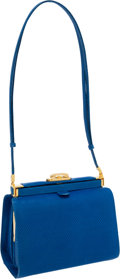 Luxury Accessories:Bags, Judith Leiber Capri Blue Lizard Frame Shoulder Bag with AdjustableStrap. ...