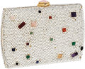 Luxury Accessories:Bags, Judith Leiber Full Bead Silver Crystal & Multicolor Cabochon Minaudiere Evening Bag. ...