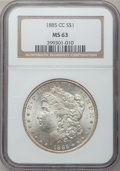Morgan Dollars: , 1885-CC $1 MS63 NGC. NGC Census: (2253/5884). PCGS Population(4566/12025). Mintage: 228,000. Numismedia Wsl. Price for pro...