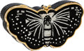 Luxury Accessories:Bags, Judith Leiber Full Bead Black Crystal Butterfly Minaudiere EveningBag. ...