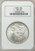 Morgan Dollars: , 1898 $1 MS66 NGC. NGC Census: (493/16). PCGS Population (601/36).Mintage: 5,884,735. Numismedia Wsl. Price for problem fre...