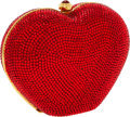 Luxury Accessories:Bags, Judith Leiber Full Bead Red Crystal Heart Minaudiere Evening Bag....
