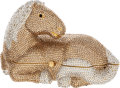 Luxury Accessories:Bags, Judith Leiber Full Bead Gold & Silver Crystal Horse MinaudiereEvening Bag. ...