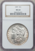 Morgan Dollars: , 1899 $1 MS64 NGC. NGC Census: (2806/670). PCGS Population(3663/1299). Mintage: 330,846. Numismedia Wsl. Price for problem...