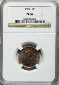 Proof Liberty Nickels: , 1909 5C PR66 NGC. NGC Census: (262/88). PCGS Population (202/35).Mintage: 4,763. Numismedia Wsl. Price for problem free NG...