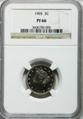 Proof Liberty Nickels: , 1905 5C PR66 NGC. NGC Census: (57/25). PCGS Population (39/10).Mintage: 2,152. Numismedia Wsl. Price for problem free NGC/...