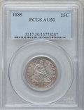 Seated Quarters: , 1885 25C AU50 PCGS. PCGS Population (7/107). NGC Census: (0/75).Mintage: 13,600. Numismedia Wsl. Price for problem free NG...