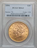 Liberty Double Eagles: , 1896 $20 MS63 PCGS. PCGS Population (879/132). NGC Census:(1434/179). Mintage: 792,500. Numismedia Wsl. Price for problem ...