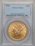 Liberty Double Eagles: , 1898 $20 MS62 PCGS. PCGS Population (530/153). NGC Census:(616/193). Mintage: 170,300. Numismedia Wsl. Price for problem f...