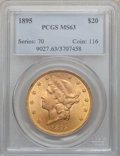 Liberty Double Eagles: , 1895 $20 MS63 PCGS. PCGS Population (1702/242). NGC Census:(3244/502). Mintage: 1,114,656. Numismedia Wsl. Price for probl...