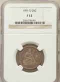 Seated Quarters: , 1891-O 25C Fine 12 NGC. NGC Census: (2/29). PCGS Population (6/57).Mintage: 68,000. Numismedia Wsl. Price for problem free...