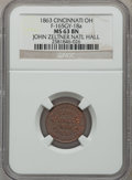 Civil War Merchants, 1863 John Zeltner National Hall, Cincinnati, OH, MS63 Brown NGC.Fuld-OH165GY-31a. Incorrectly attributed by NGC as Fuld-OH165...