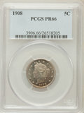 Proof Liberty Nickels: , 1908 5C PR66 PCGS. PCGS Population (35/9). NGC Census: (56/20).Mintage: 1,620. Numismedia Wsl. Price for problem free NGC/...