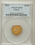 Classic Quarter Eagles: , 1834 $2 1/2 Classic XF45 PCGS. PCGS Population (96/497). NGCCensus: (65/799). Mintage: 112,234. Numismedia Wsl. Price for ...