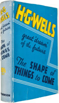 Books:Science Fiction & Fantasy, H. G. Wells. The Shape of Things to Come. London: 1933. First edition. Signed by Wells....