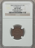 Civil War Merchants, 1863 John Zeltner, Cincinnati, OH., AU55 NGC. Fuld-OH165GY-25a.Incorrectly attributed by NGC as Fuld-OH165GY-4a....