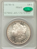 Morgan Dollars: , 1878-S $1 MS65 PCGS. CAC. PCGS Population (3616/601). NGC Census:(3956/506). Mintage: 9,774,000. Numismedia Wsl. Price for...