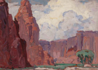 HANSON DUVALL PUTHUFF (American, 1875-1972) Ancient Homeland Oil on board 12 x 16 inches (30.5 x