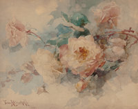 FRANZ A. BISCHOFF (Austrian, 1864-1929) Bouquet of Roses, 1899 Watercolor on board 10 x 13 inches