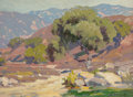 Paintings, HANSON DUVALL PUTHUFF (American, 1875-1972). California Foothill Landscape. Oil on board. 12 x 16 inches (30.5 x 40.6 cm...