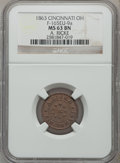 Civil War Merchants, 1863 A. Ricke, Cincinnati, OH, MS63 Brown NGC. Fuld-OH165EV-9a.Misattributed by NGC as Fuld-OH165EU-9a....