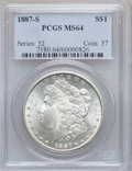 Morgan Dollars: , 1887-S $1 MS64 PCGS. PCGS Population (1736/351). NGC Census:(948/172). Mintage: 1,771,000. Numismedia Wsl. Price for probl...