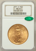 Saint-Gaudens Double Eagles: , 1911-S $20 MS64 NGC. CAC. NGC Census: (1410/285). PCGS Population(1500/491). Mintage: 775,750. Numismedia Wsl. Price for p...