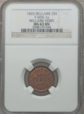 Civil War Merchants, 1863 Bellaire Ferry, Bellaire, OH, MS63 Brown NGC.Fuld-OH60A-1a....
