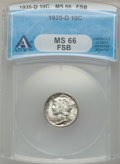 Mercury Dimes: , 1935-D 10C MS66 Full Bands ANACS. NGC Census: (32/5). PCGSPopulation (83/24). Mintage: 10,477,000. Numismedia Wsl. Price f...