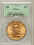 Saint-Gaudens Double Eagles: , 1922 $20 MS64 PCGS. PCGS Population (7276/1245). NGC Census:(7565/483). Mintage: 1,375,500. Numismedia Wsl. Price for prob...