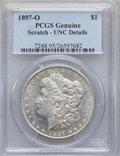 Morgan Dollars, 1897-O $1 -- Scratched -- PCGS Genuine. Unc Details. NGC Census:(219/1630). PCGS Population (119/1196). Mintage: 4,004,000...