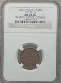 Civil War Merchants, 1863 Samuel Geitgey Stoves, Wooster, OH, AU55 NGC. Fuld-OH975F-4a.Incorrectly designated by NGC as Fuld-OH975F-3a....