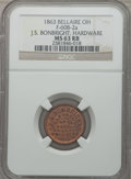 Civil War Merchants, 1863 J.S. Bonbright, Hardware, Bellaire, OH, MS63 Red and BrownNGC. Fuld-OH60B-2a....