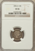 Barber Dimes: , 1896-O 10C VF35 NGC. NGC Census: (7/41). PCGS Population (6/80).Mintage: 610,000. Numismedia Wsl. Price for problem free N...