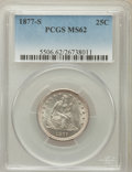 Seated Quarters: , 1877-S 25C MS62 PCGS. PCGS Population (49/208). NGC Census:(40/189). Mintage: 8,996,000. Numismedia Wsl. Price for problem...