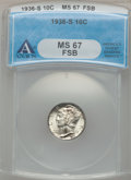 Mercury Dimes: , 1936-S 10C MS67 Full Bands ANACS. NGC Census: (49/1). PCGSPopulation (168/2). Mintage: 9,210,000. Numismedia Wsl. Price fo...