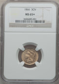 Three Cent Nickels: , 1866 3CN MS65+ NGC. NGC Census: (66/55). PCGS Population (71/23).Mintage: 4,801,000. Numismedia Wsl. Price for problem fre...