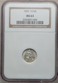 Seated Half Dimes: , 1859 H10C MS63 NGC. NGC Census: (25/134). PCGS Population (31/84).Mintage: 340,000. Numismedia Wsl. Price for problem free...