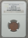 Civil War Merchants, 1863 G. Brumter, Groceries, Wooster OH, MS63 Brown NGC.Fuld-OH975C-1a....