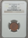 Civil War Merchants, 1863 Alex R Grant & Co., Zanesville, OH, MS63 Red and BrownNGC. Fuld-OH995E-1a....