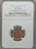 Civil War Merchants, 1863 H. Knobloch, Grocer, Massillon, OH, MS64 Red and Brown NGC.Fuld-OH535D-4a....