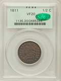 Half Cents, 1811 1/2 C Close Date VF20 PCGS. CAC. C-2, B-2, Low R.3....