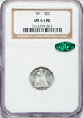 Seated Dimes, 1891 10C MS64 Prooflike NGC. CAC. NGC Census: (281/199). PCGSPopulation (222/178). Mintage: 15,310,600. Numismedia Wsl. Pr...