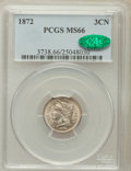 Three Cent Nickels, 1872 3CN MS66 PCGS. CAC....