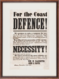 "Miscellaneous:Broadside, [Civil War]. Confederate Recruitment Broadside ""For the CoastDefence!""..."
