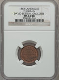 Civil War Merchants, 1863 David Ekstein, Groceries, Lansing, MI, MS63 Red and Brown NGC.Fuld-MI560A-2a....