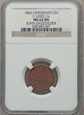 Civil War Merchants, 1863 John Sacksteder, Cincinnati, OH, MS62 Brown NGC.Fuld-OH165FC-1a....