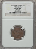 Civil War Merchants, 1863 Wright, Cincinnati, OH, MS62 Brown NGC. Fuld-OH165GR-1a. ...