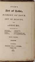 Books:Literature Pre-1900, Ovid. Art of Love, Remedy of Love, Art of Beauty, andAmours. Hughes, 1823. Twelvemo. 190 pages. Publisher's pap...